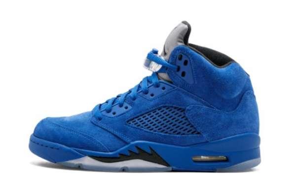 "2021 New Air Jordan 5 ""Blue Suede"" Game Royal/Game Royal-Black 136027-401 Sell cheap!"